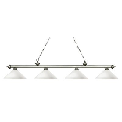 Zephyr 4-Light Cone Glass Shade Billiard Light with Hanging Chain Finish: Antique Silver, Shade Color: Matte Opal