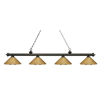 Zephyr 4-Light Cone Metal Shade Billiard Light Shade Color: Polished Brass, Finish: Golden Bronze