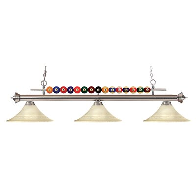 Shark 3-Light Billiard Light Finish: Brushed Nickel