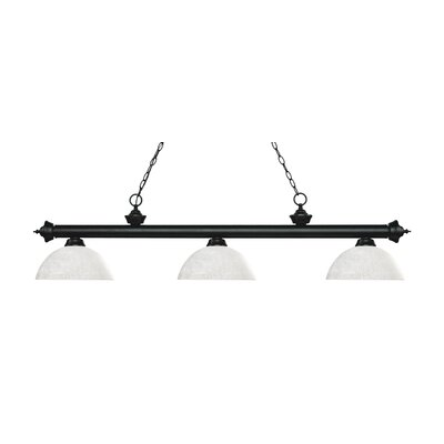 Zephyr Traditional 3-Light Bowl Glass Shade Billiard Light Shade Color: White Linen, Finish: Matte Black