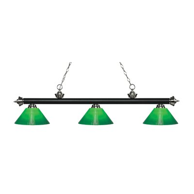 Zephyr 3-Light Billiard Light Finish: Matte Black / Brushed Nickel, Shade Color: Green Cased, Size: 14.5 H x 57 W x 14 D