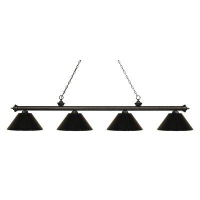Zephyr 4-Light Cone Shade Billiard Light Shade Color: Black, Finish: Golden Bronze