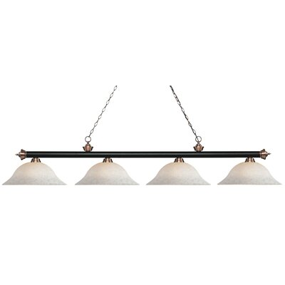 Zephyr 4-Light Billiard Light Finish: Matte Black / Antique Copper, Shade Color: White Mottle, Size: 12.5 H x 82.5 W x 16 D