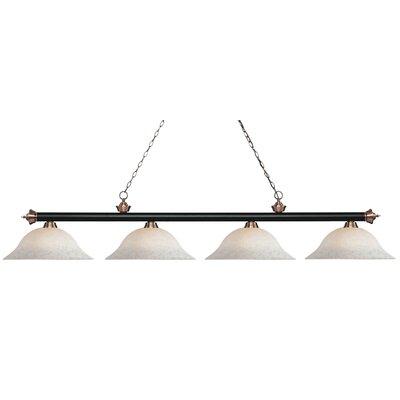 Riviera 4-Light Billiard Light Finish: Matte Black / Antique Copper, Shade Color: White Mottle, Size: 12.5 H x 82.5 W x 16 D