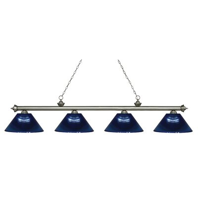 Riviera 4-Light Billiard Light Finish: Antique Silver, Shade Color: Dark Blue