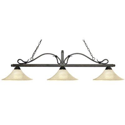 Melrose 3-Light Billiard Light Finish: Golden Bronze, Shade Color: Fluted Golden Mottle