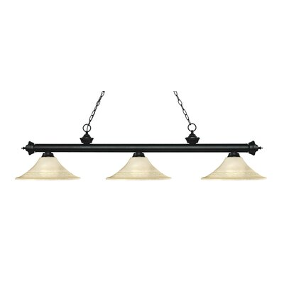 Zephyr 3-Light Bell Shade Billiard Light Shade Color: Golden Mottle, Finish: Matte Black