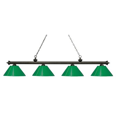 Zephyr 4-Light Cone Shade Billiard Light Finish: Golden Bronze, Shade Color: Green