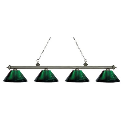 Zephyr 4-Light Adjustable Billiard Light Finish: Antique Silver, Shade Color: Green