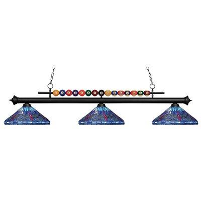 Chapa 3-Light Billiard Light Finish: Matte Black, Size: 15 H x 58 W x 14 D