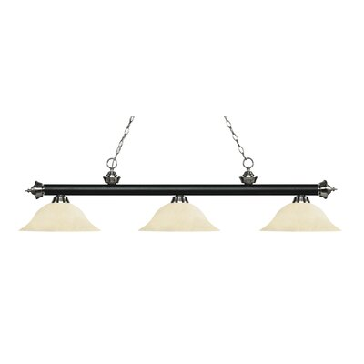 Zephyr 3-Light Billiard Light Finish: Matte Black / Brushed Nickel, Shade Color: Golden Mottle, Size: 13.5 H x 59 W x 16 D