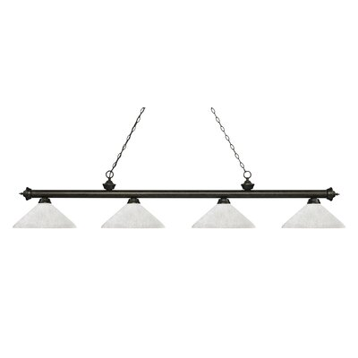 Zephyr 4-Light Cone Glass Shade Billiard Light with Hanging Chain Finish: Golden Bronze, Shade Color: Angle White Linen