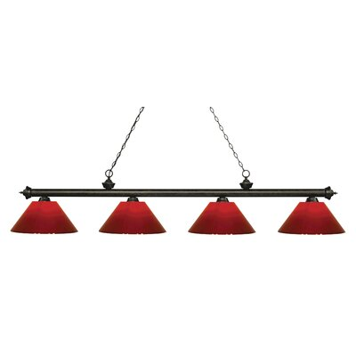 Zephyr 4-Light Cone Shade Billiard Light Finish: Golden Bronze, Shade Color: Red