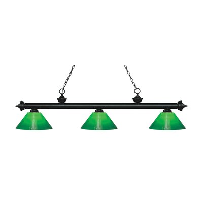 Zephyr 3-Light Billiard Light Finish: Matte Black, Shade Color: Green Cased, Size: 14.5 H x 57 W x 14 D