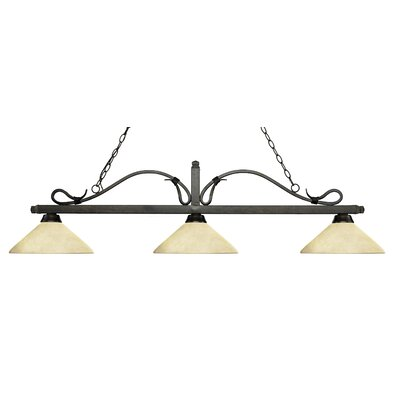 Cendejas 3-Light Billiard Light Finish: Golden Bronze, Shade Color: Angle Golden Mottle
