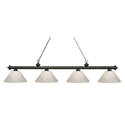 Zephyr 4-Light Cone Shade Billiard Light Shade Color: White, Finish: Golden Bronze