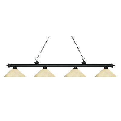 Zephyr 4-Light Cone Glass Shade Billiard Light with Hanging Chain Finish: Matte Black, Shade Color: Golden Mottle