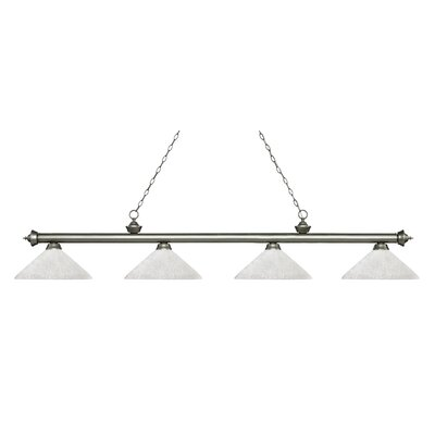 Zephyr 4-Light Cone Glass Shade Billiard Light with Hanging Chain Finish: Antique Silver, Shade Color: White Linen