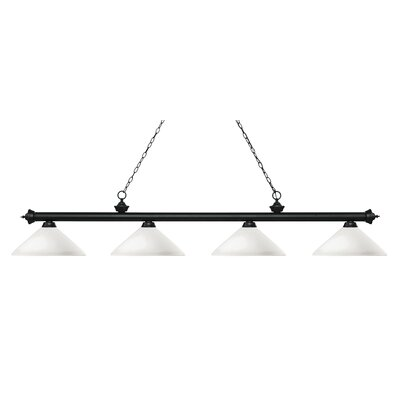 Zephyr 4-Light Cone Glass Shade Billiard Light with Hanging Chain Finish: Matte Black, Shade Color: Matte Opal
