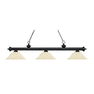 Zephyr 3-Light Billiard Light Finish: Matte Black, Shade Color: Golden Mottle, Size: 13.5 H x 59 W x 16 D