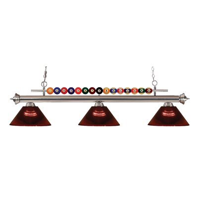 Chapa 3-Light Billiard Light Finish: Brushed Nickel, Shade Color: Burgundy