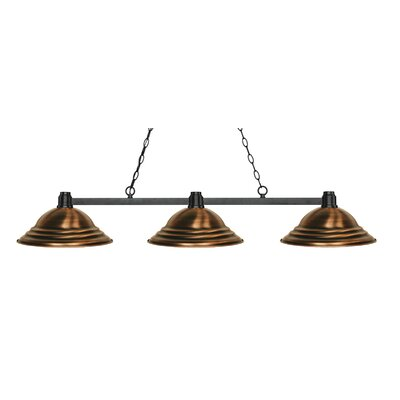 Park 3-Light Kitchen Island Pendant Finish: Bronze, Shade Color: Stepped Antique Copper