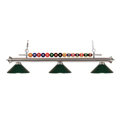 Chapa 3-Light Billiard Light Finish: Brushed Nickel, Shade Color: Dark Green