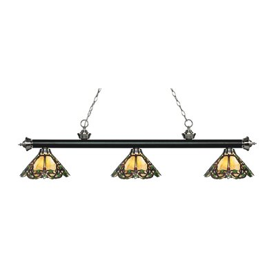 Zephyr Traditional 3-Light Glass Shade Billiard Light Finish: Matte Black / Brushed Nickel
