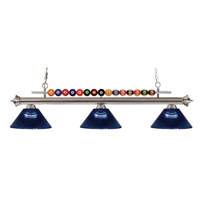Chapa 3-Light Billiard Light Finish: Brushed Nickel, Shade Color: Dark Blue