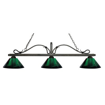 Cendejas 3-Light Billiard Light Finish: Golden Bronze, Shade Color: Green