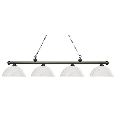 Zephyr 4-Light Bowl Shade Billiard Light Shade Color: White Linen, Finish: Golden Bronze