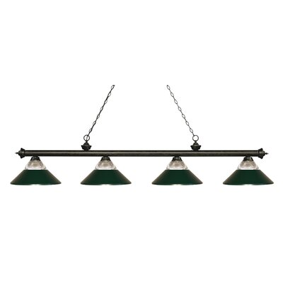 Riviera 4-Light Billiard Light Shade Color: Dark Green, Finish: Golden Bronze