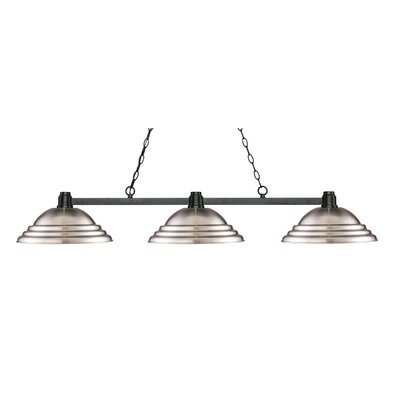 Park 3-Light Kitchen Island Pendant Finish: Bronze, Shade Color: Stepped Brushed Nickel