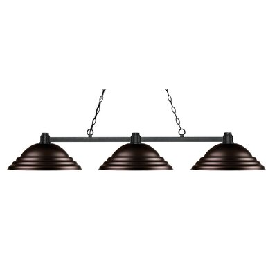 Park 3-Light Kitchen Island Pendant Finish: Bronze, Shade Color: Stepped Bronze