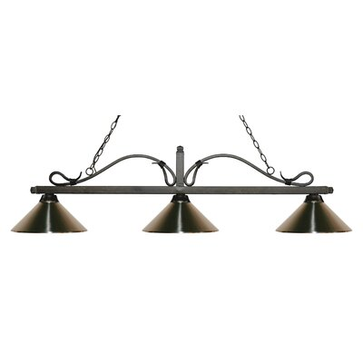 Cendejas 3-Light Billiard Light Finish: Golden Bronze, Shade Color: Brushed Nickel