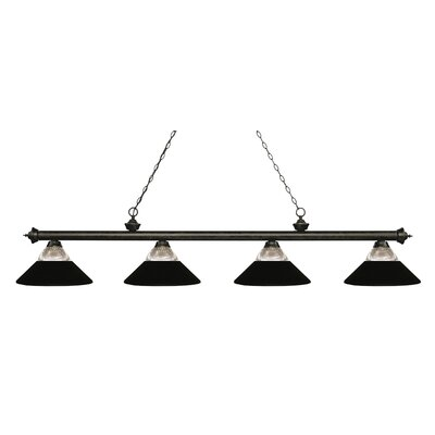 Chapple 4-Light Billiard Light Finish: Golden Bronze, Shade Color: Matte Black