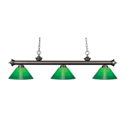Zephyr Traditional 3-Light Cone Glass Shade Billiard Light Finish: Olde Bronze, Shade Color: Green Cased, Size: 15 H x 57 W x 14 D