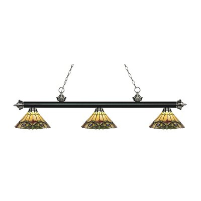 Riviera 3-Light Billiard Light Finish: Matte Black / Brushed Nickel