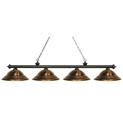 Zephyr 4-Light Metal Shade Billiard Light Finish: Golden Bronze, Shade Color: Antique Copper