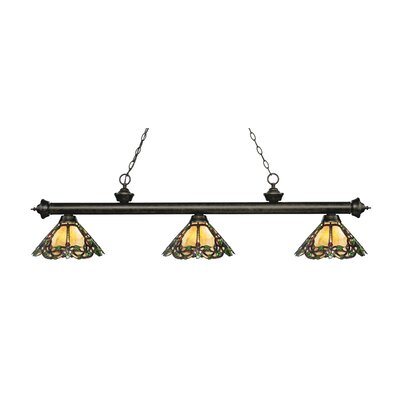Zephyr Traditional 3-Light Glass Shade Billiard Light Finish: Golden Bronze