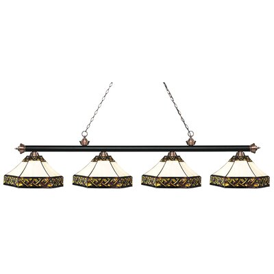 Riviera 4-Light Billiard Light Finish: Matte Black / Antique Copper