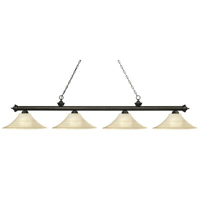 Zephyr 4-Light Bell Shade Billiard Light Shade Color: Golden, Finish: Golden Bronze