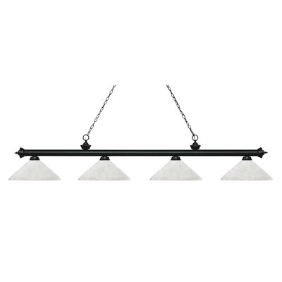 Zephyr 4-Light Cone Glass Shade Billiard Light with Hanging Chain Finish: Matte Black, Shade Color: White Linen