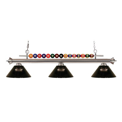Chapa 3-Light Billiard Light Finish: Brushed Nickel, Shade Color: Smoke