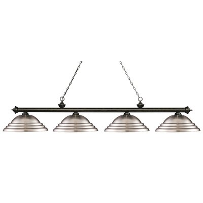 Zephyr 4-Light Metal Shade Billiard Light Finish: Golden Bronze, Shade Color: Brushed Nickel