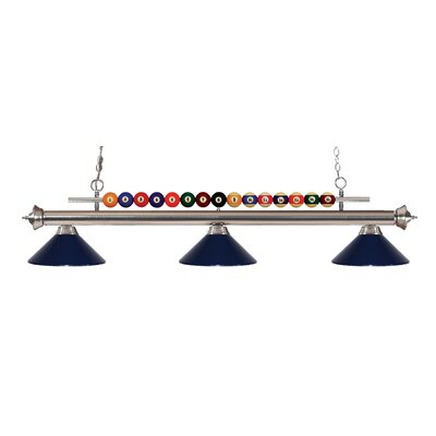 Shark 3-Light Billiard Light Finish: Brushed Nickel, Shade Color: Navy Blue