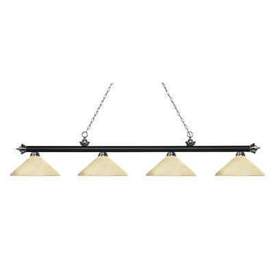 Riviera 4-Light Billiard Light Finish: Matte Black / Brushed Nickel, Shade Color: Golden Mottle