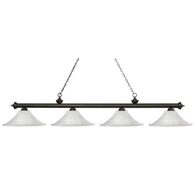 Zephyr 4-Light Bell Shade Billiard Light Shade Color: White, Finish: Golden Bronze