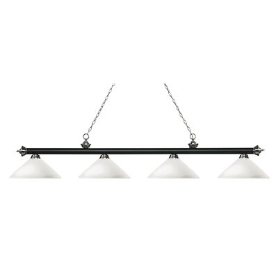 Zephyr 4-Light Cone Glass Shade Billiard Light with Hanging Chain Finish: Matte Black / Brushed Nickel, Shade Color: Matte Opal