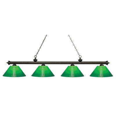 Zephyr Contemporary 4-Light Steel Billiard Light Finish: Golden Bronze, Shade Color: Green Cased, Size: 13.75 H x 80.5 W x 14 D